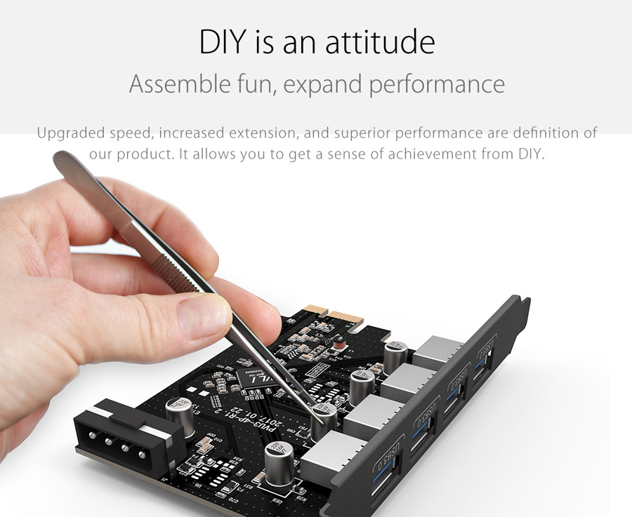 ORICO PVU3-4P-V1 4-Port USB 3.0 PCI-E Expansion Adapter Card