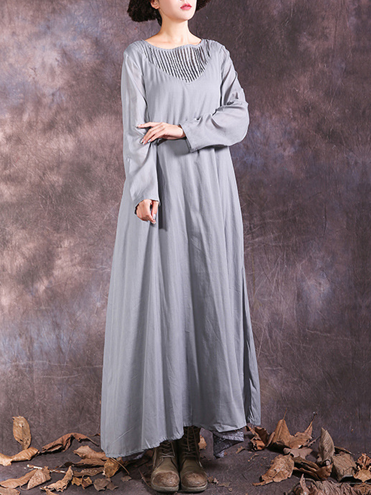 Vintage Women Patchwork Long Sleeve Maxi Dress