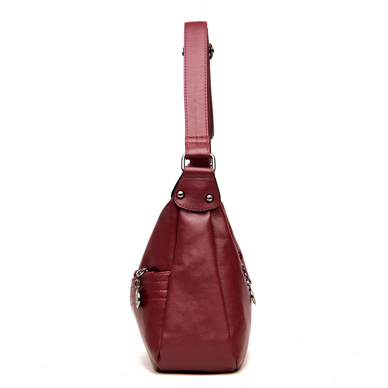 Women Soft Leather Double Layer Crossbody Bag