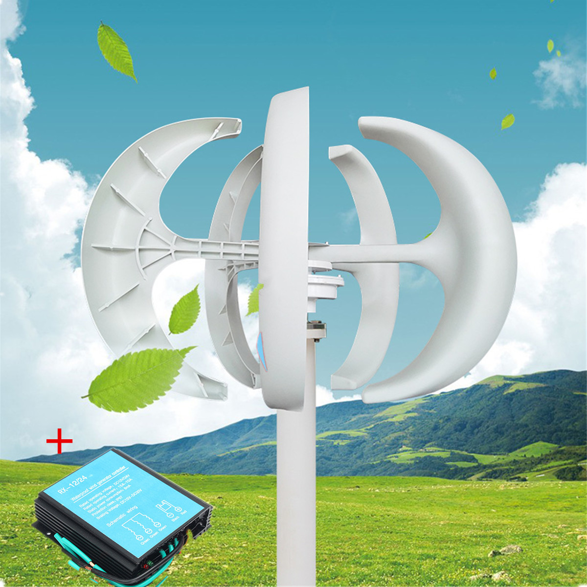 100W to 400W 12 24V Vertical Axis Wind Turbine Generator VAWT Boat Garden with Controller