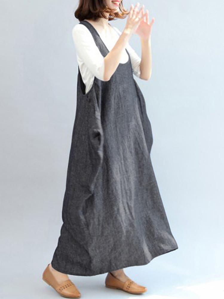 Women Sleeveless Strap Maxi Dress