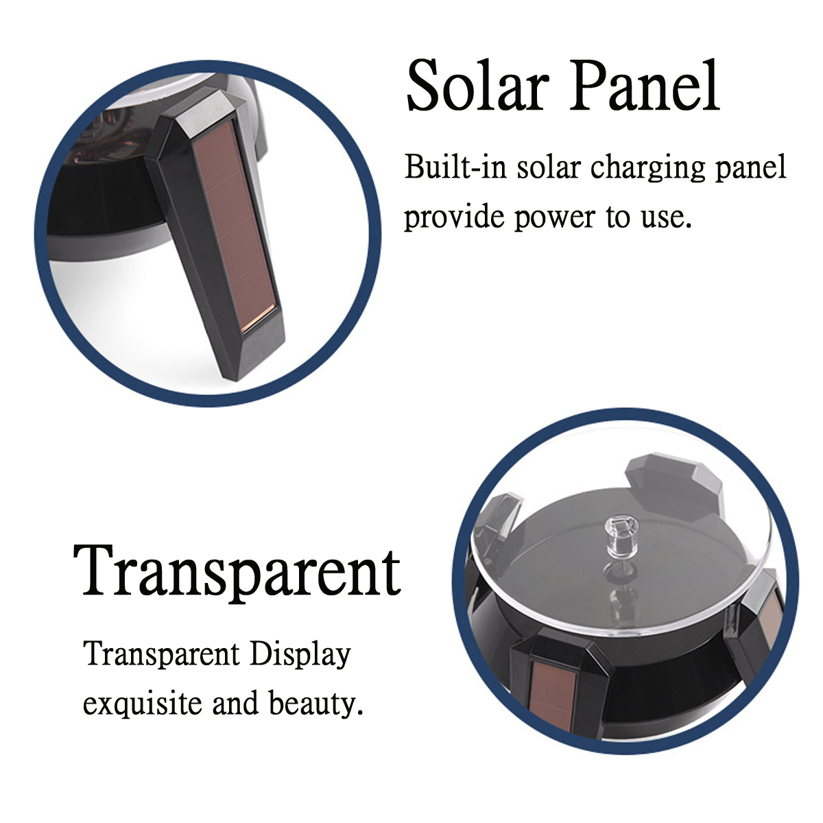 Solar Powered Rotary Display Stand Jewelry Phone Watch Rotating Display Stand Turn Table