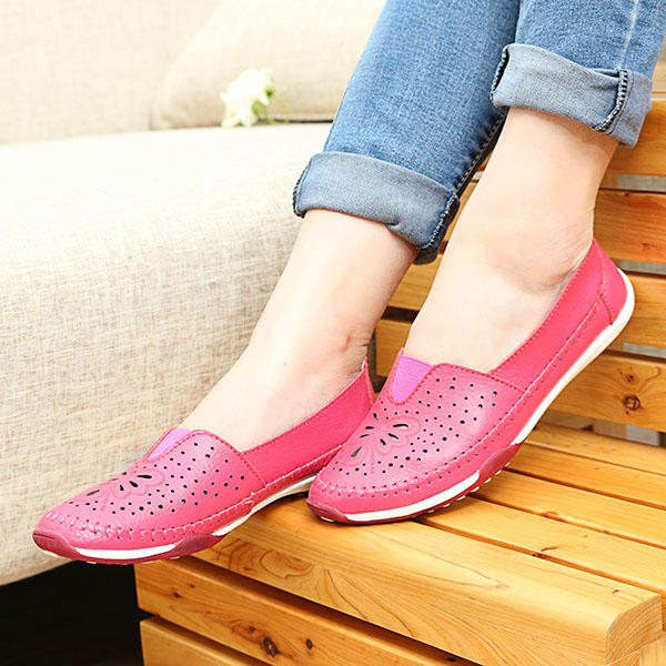 SOCOFY Genuine Leather Women Casual Outdoor Flat Loafers