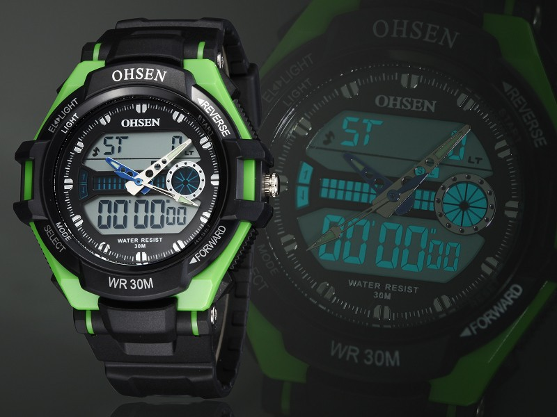Ohsen AD1302 Analog Digital Silicone Band Waterproof Sport Wrist Watch