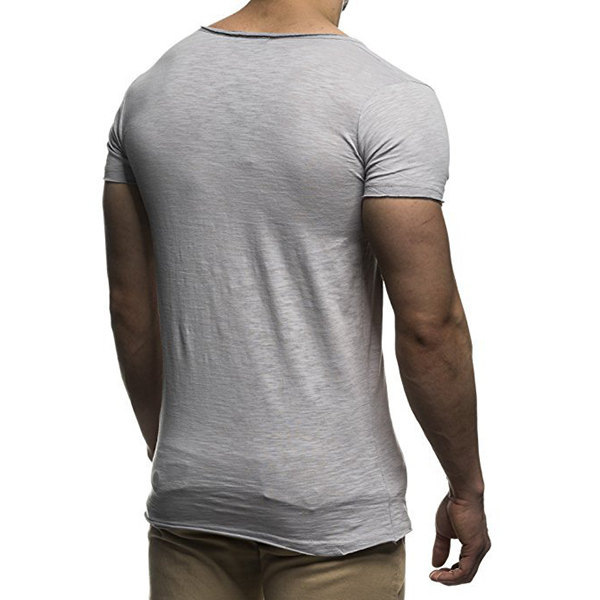 Summer Mens Thin Solid Color V-neck Short Sleeve Tops