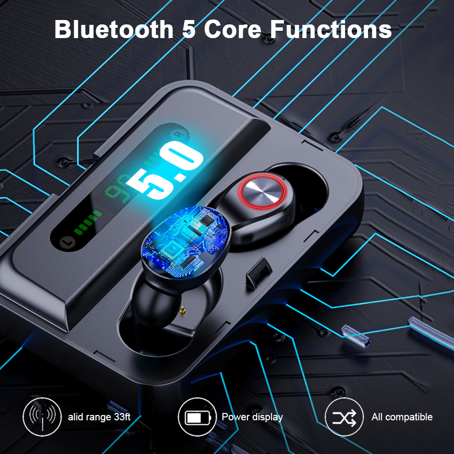 T10B TWS bluetooth 5.0 Earphone Wireless Stereo Headphones IPX7 Waterproof With Three LED Display Smart Charging Box