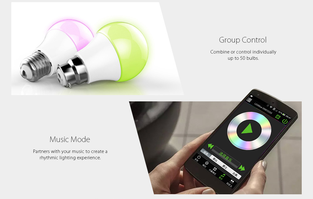 ARILUX® AL-B05 E27 B22 4.5W RGBW bluetooth 4.0 LED Smart Bulb 100-240V for iPhone and Android Phones