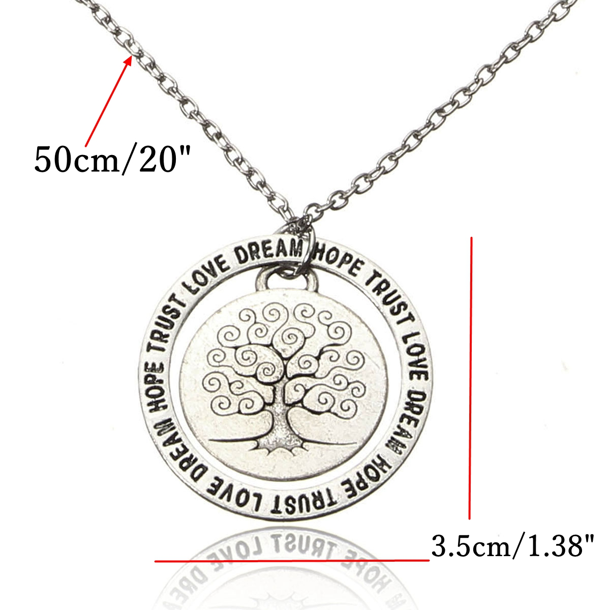 Love Dream Tree of Life Hope Trust Words Family Gift Necklace Chain