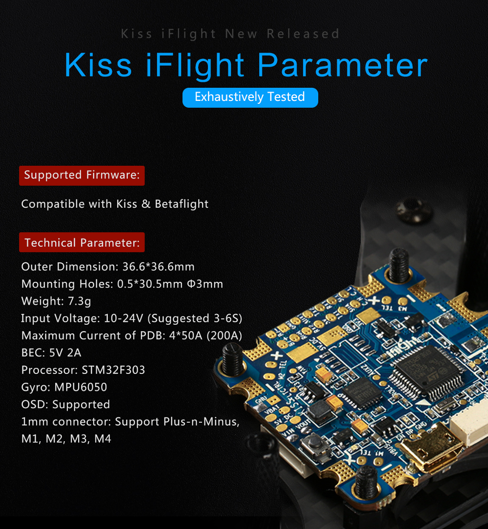 Kiss iFlight Flyduino Kiss Licensed AIO Flight Controller F3 Built-in PDB OSD 5V BEC for RC Drone