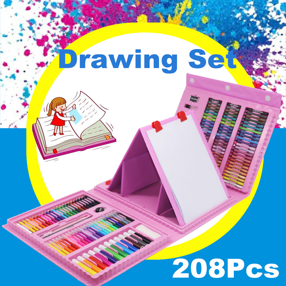 208 Pcs Colors Pencil Artist Drawing Pen Set Sketch Pastel Watercolor Painting Gift For Children