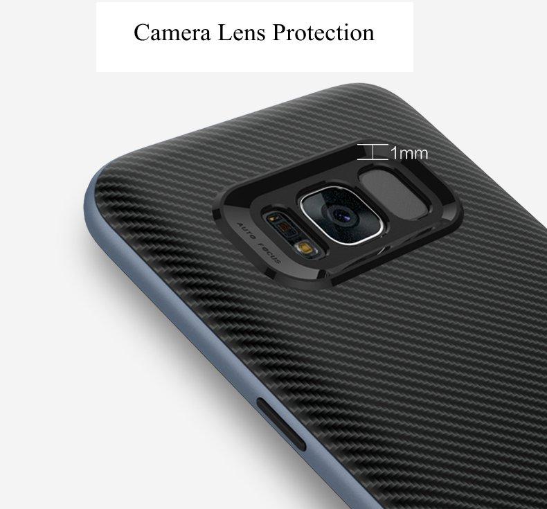 Carbon Fiber PC Frame+TPU Back Case For Samsung Galaxy S8 Plus