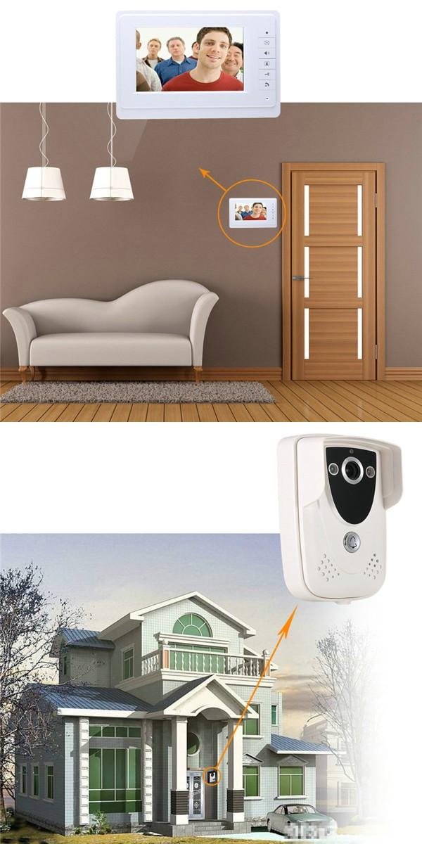ENNIOSY819FC12 7 Inch TFT 2 Video Door Phone Doorbell Intercom Monitors with Night Vision Camera Kit