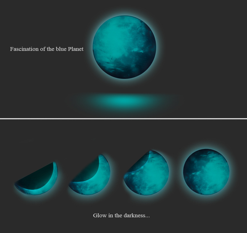 30cm Earth Globe Moon Wall Sticker Removable Glow In The Dark Luminous Stickers Home Decor