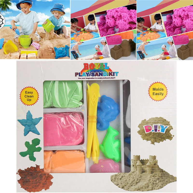 Magic Motion Moving Sand Clay 450g Play Box With Moulds &Tray Children Toy Never Dry