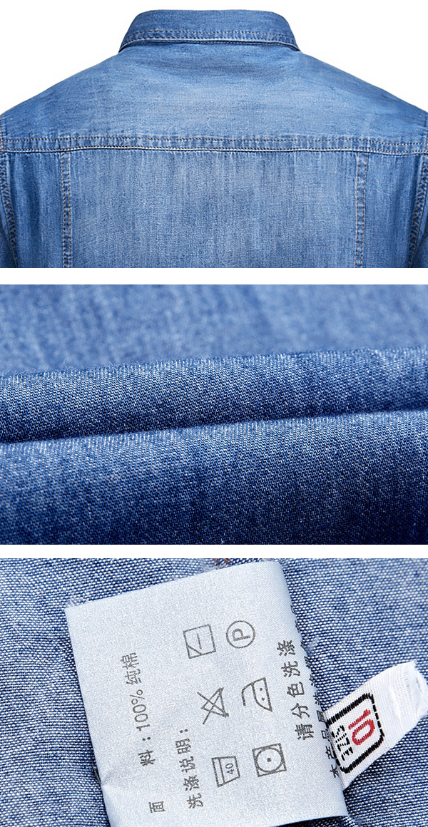 Mens Denim Outdoor Summer Fashion Loose Double Pockets Casual Shirts