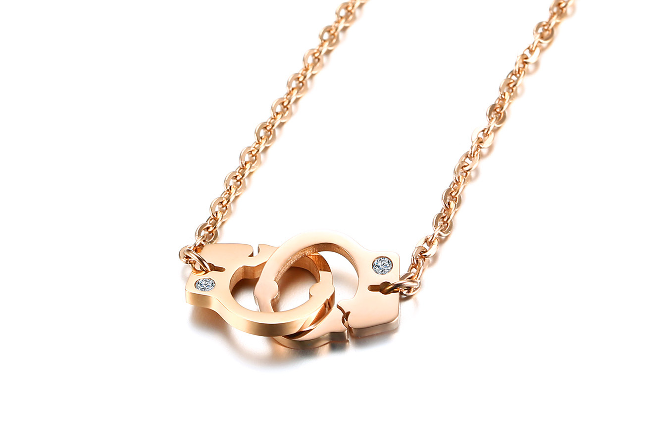 Titanium Steel Rhinestone Rose Gold Handcuffs Necklace