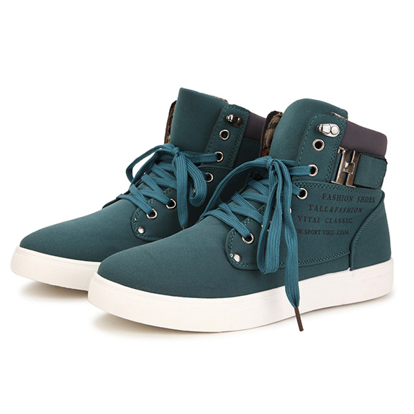 Men Matte Leather High Top Causal Sneakers Breathable Sports Shoes