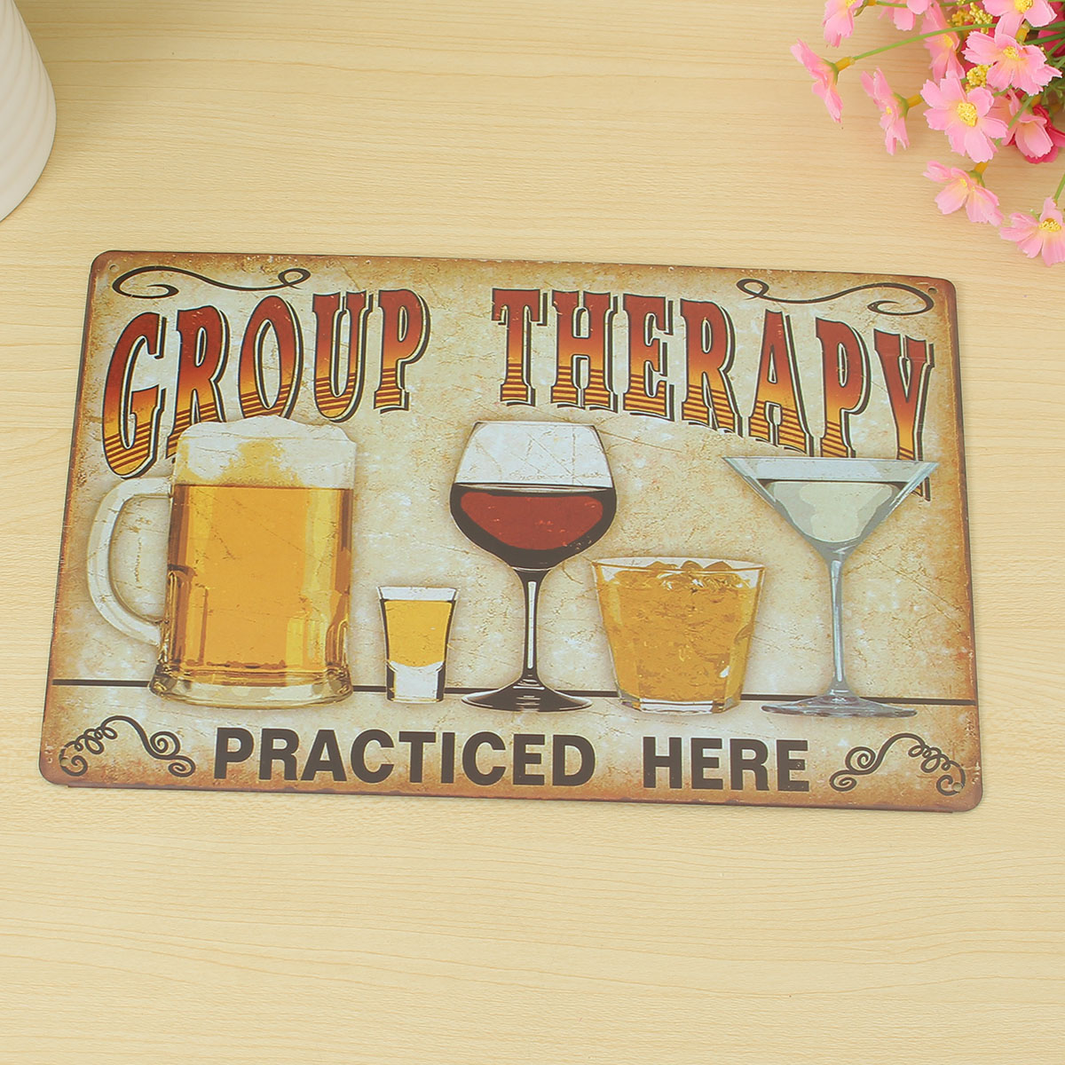 Retro Metal Tin Sign Plaque Picture Shop Vintage GROUP THERAPY Picture Bar Pub Man Cave