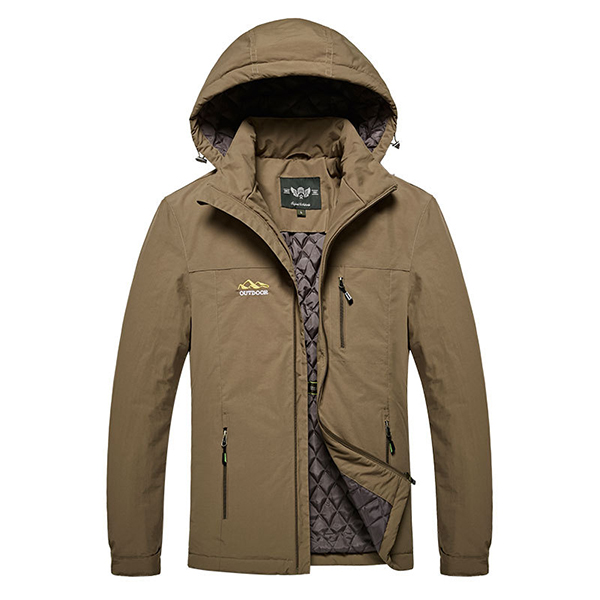 Mens Quilted Thick Warm Jacket Windproof Hooded Solid Color Embroidery Coat