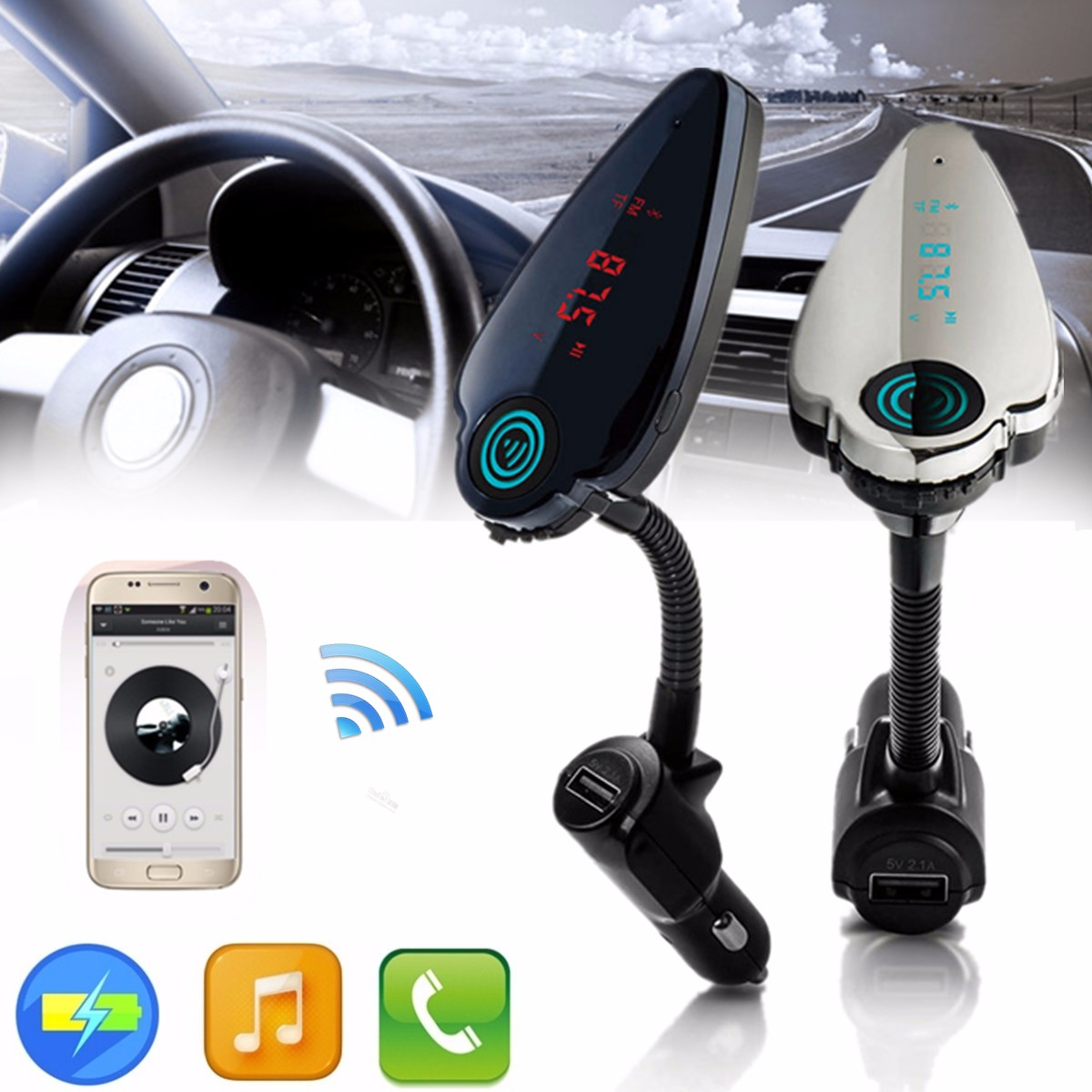 T6 LCD Display Car Charger bluetooth Hands Free FM Transmitter Built-in Microphone MP3 Player