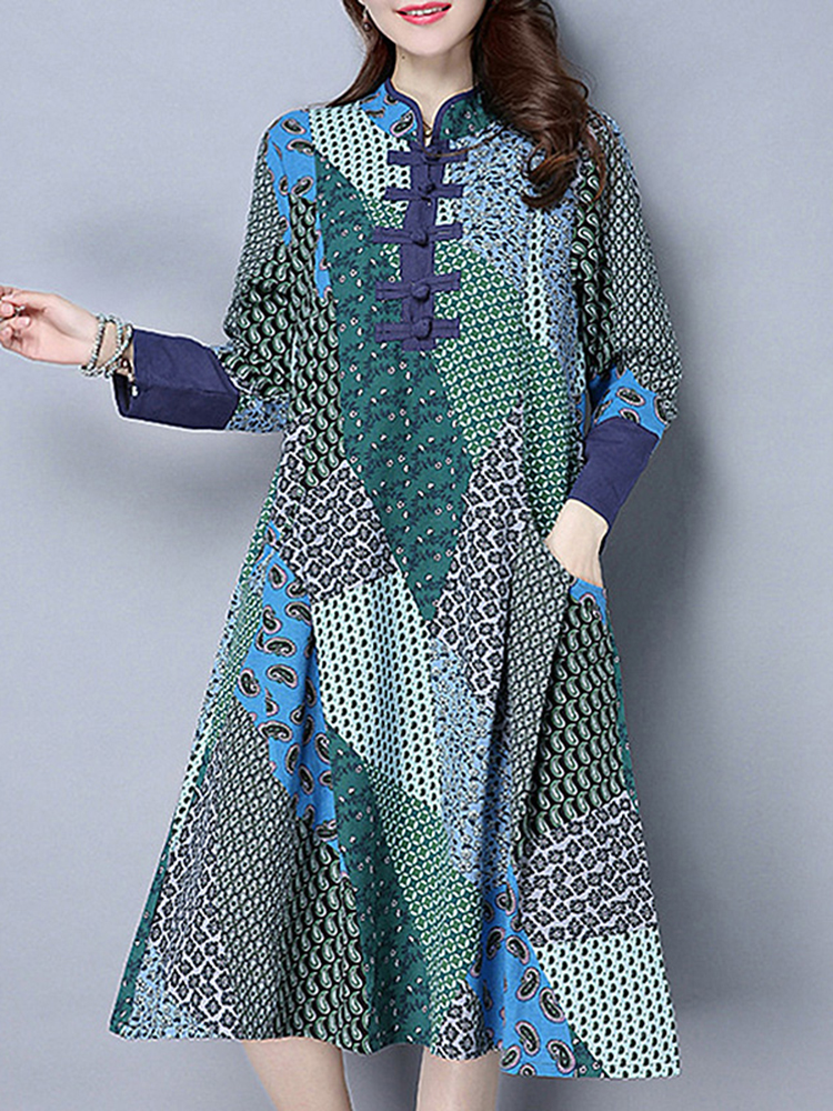 Vintage Women Stand Collar Long Sleeve Printed Patchwork Cotton Dress