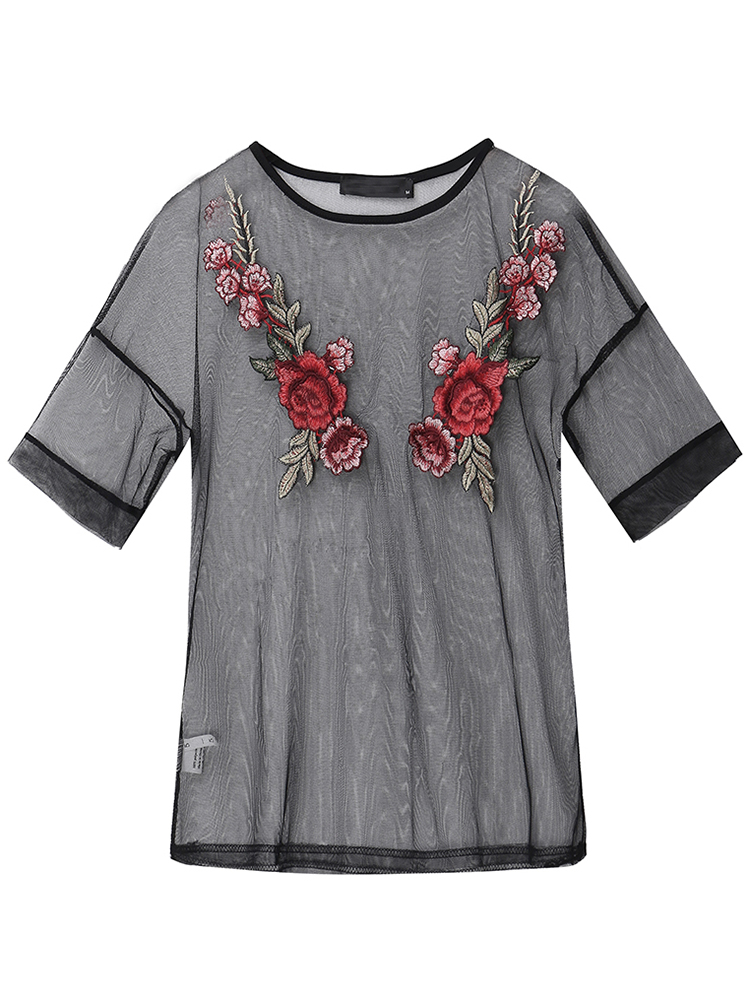Sexy Women Floral Embroidery See-Through Mesh Blouses