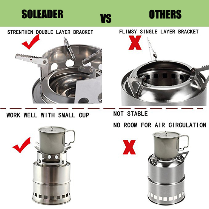 Portable Wood Burning Cooking Stove Collapsible Stainless Steel Alcohol Outdoor Cooking Furnace