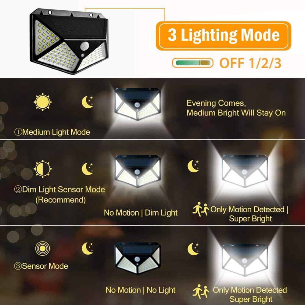 100 LED Solar Powered PIR Motion Sensor Wall Light Outdoor Garden Lamp 3 Modes
