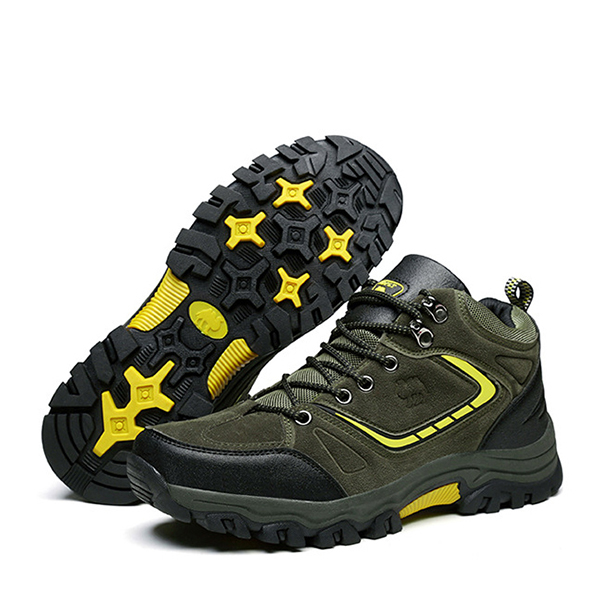 Men Comfy Suede Leather Wear Resistance Outsole Outdoor High Top Athletic Shoes
