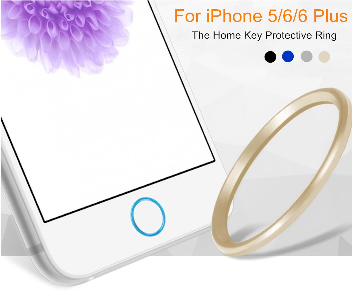 Aluminum Alloy Home Button Circle Ring Cover Skin Sticker for iPhone 5 5S SE/ 6/6s Plus