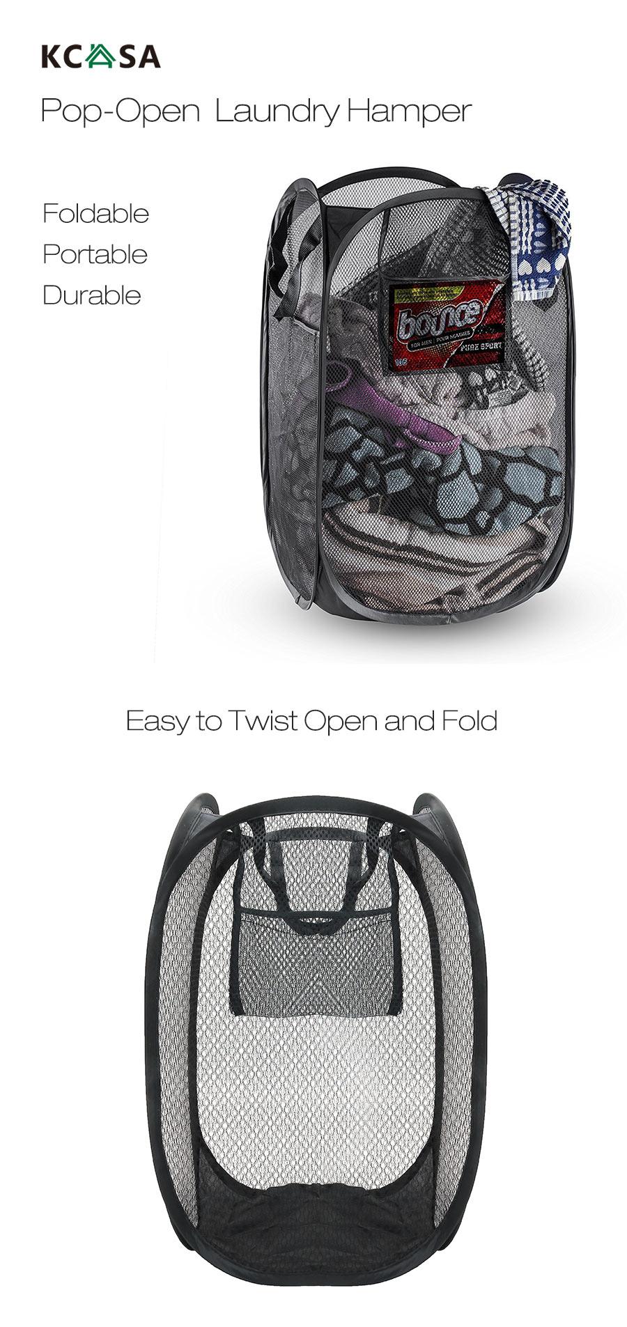 KCASA KC-0916 Mesh Pop Up Laundry Hamper Foldable Laundry Basket Household Clothing Organizer
