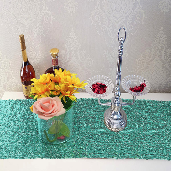 30x180cm Mint Green Blush Sequins Table Runner Wedding Party Tablecloth Decoration