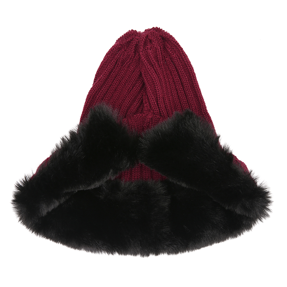 Women Outdoor Cold-Proof Thickening Artificial Fur Knit Hat