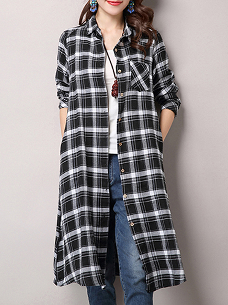 Casual Women Single Breasted Long Sleeve Plaid Shirt Dress