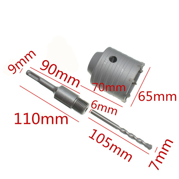 65mm SDS Plus Shank Hole Saw Cutter Concrete Cement Stone Wall Drill Bit with Wrench