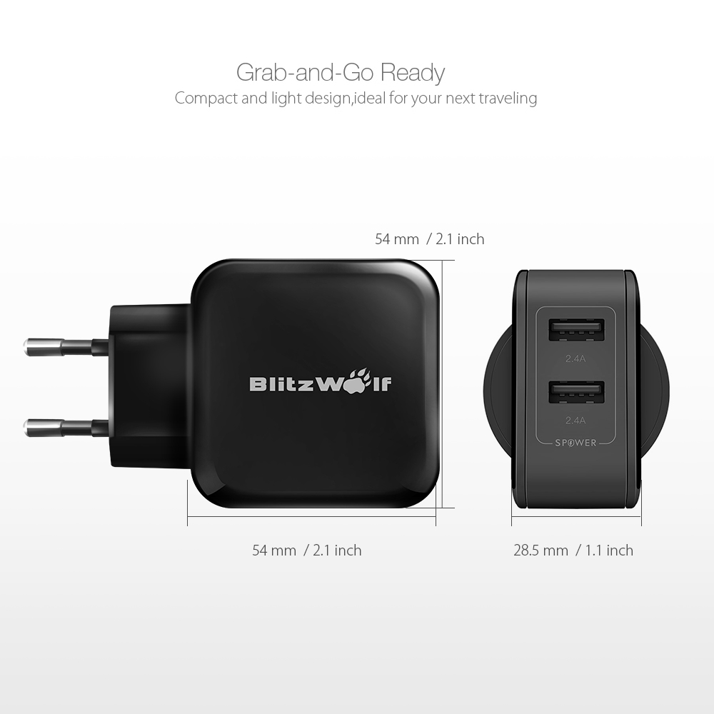 BlitzWolf® BW-S2 4.8A 24W Dual EU USB Charger With Power3S Tech for iphone 8 8 Plus Xiaomi