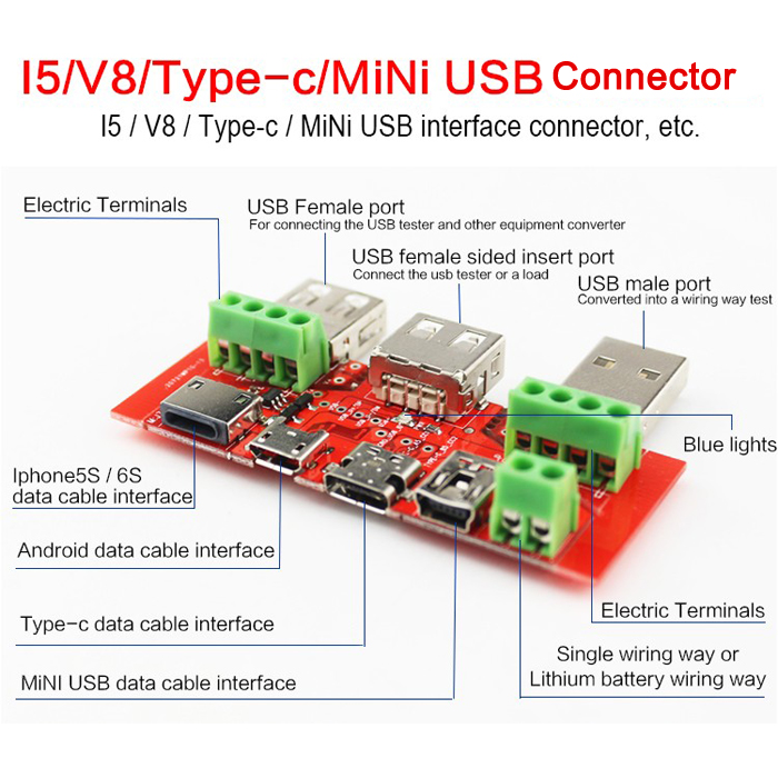 JUWEI Type-c Micro USB MiNi USB Cable Adapter Converter Board USB Tester Ammeter Capacity Monitor Instrument