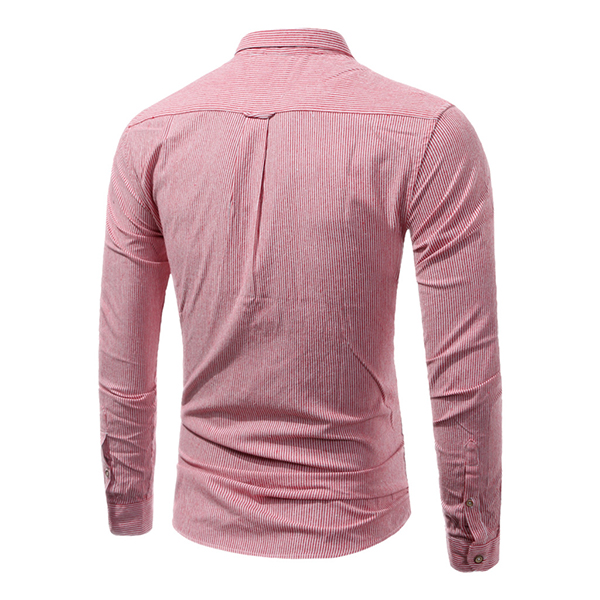 Mens Classic Striped Fashion Casual Long-sleeved Shirt S-3XL