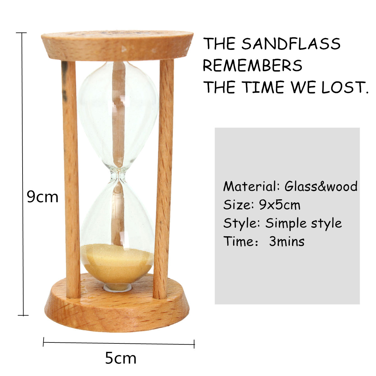 3 Minutes Wooden Sand Clock Sand Glass Hourglass Clock Home Decor Unique Gift Kitchen Timer