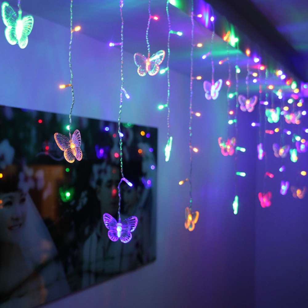 3.5M 96LEDs Colorful Curtain Butterfly String Light with EU/US Plug for Christmas AC110V/220V
