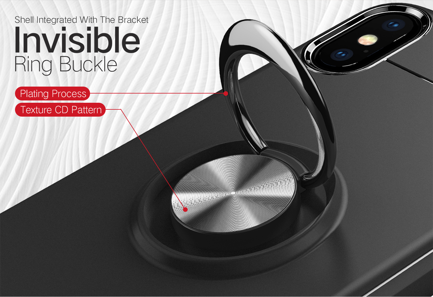 C-KU Protective Case For iPhone XS Max 360º Rotating Ring Grip Kicktand Back Cover