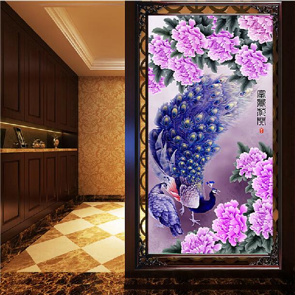45x73cm 5D DIY Purple Peacocks Diamond Painting Resin Rhinestone Animal Cross Stitch Kit