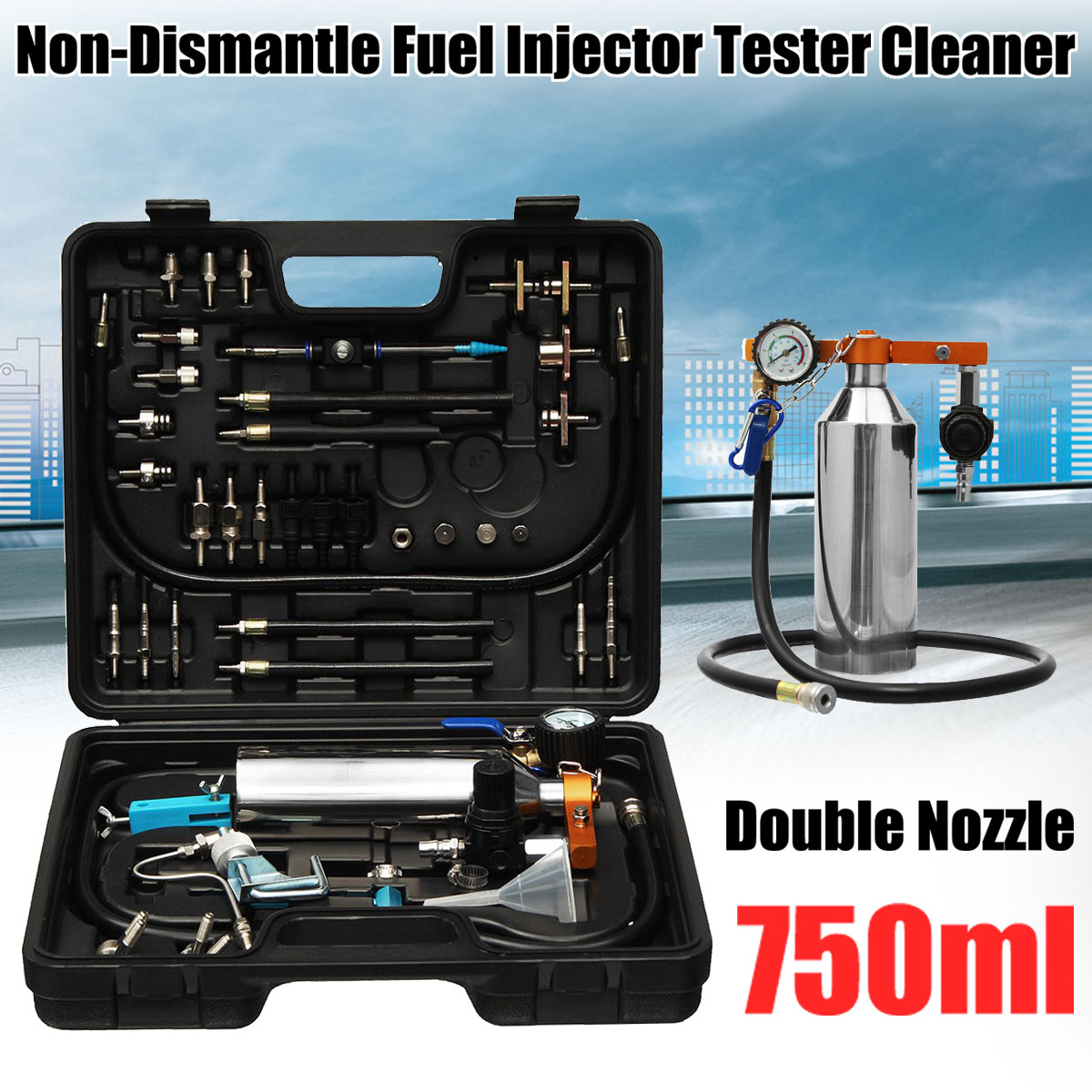 750ml Double Nozzle Non-Dismantle Fuel Cleaner Injector & Test For Petrol EFI Throttle