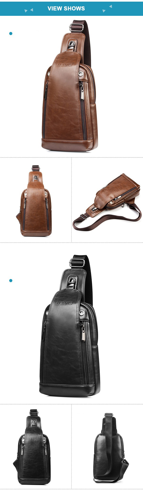 Men Quality PU Leather Casual Daily Chest Bag Crossbody Bag