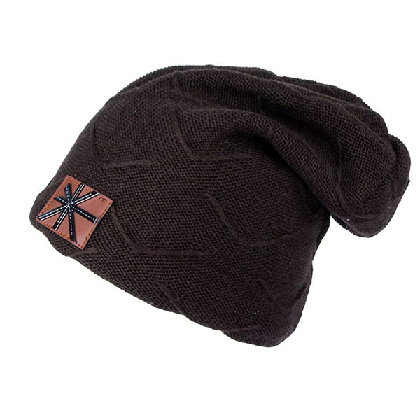 Mens Unisex Winter Plus Velvet Lining Warm Knitted Hat