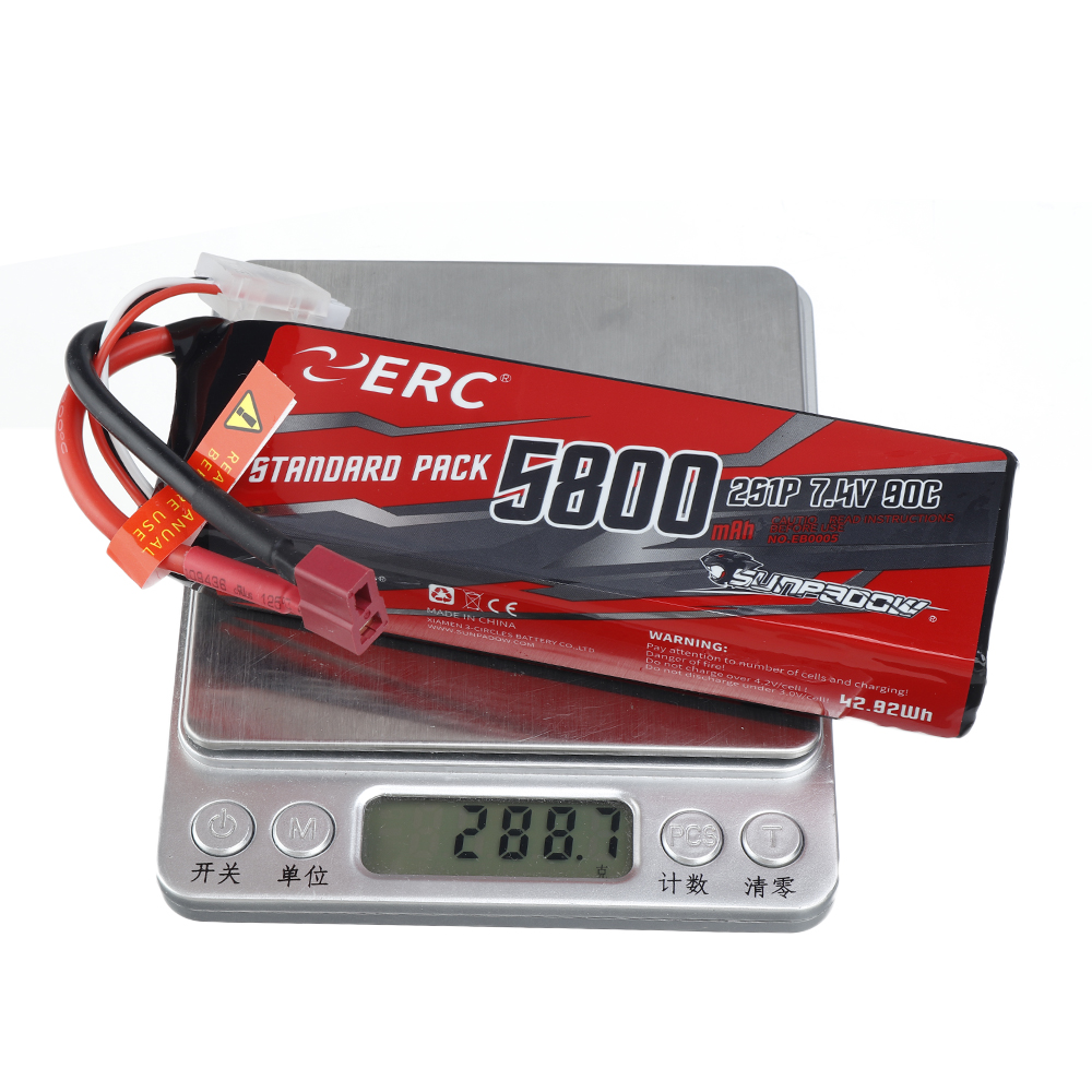 SUNPADOW ERC 7.4V 5800mAh 100C 2S Lipo Battery T/XT60 Plug With Battery Strap for RC Car