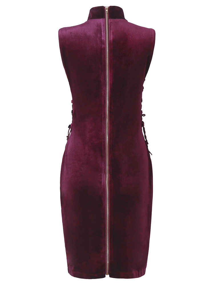 Wine Red Women Sexy Sleeveless Pleuche Turtleneck Bangdge Zipper Mini Party Dresses