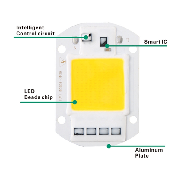 LUSTREON AC110V/220V 20W 30W 50W White/Warm White COB LED Chip 40X60mm for DIY Flood Light