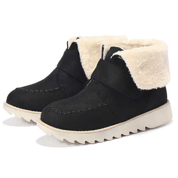 Winter Women Suede Flats Cotton Boots Fur Lining Casual Snow Boots