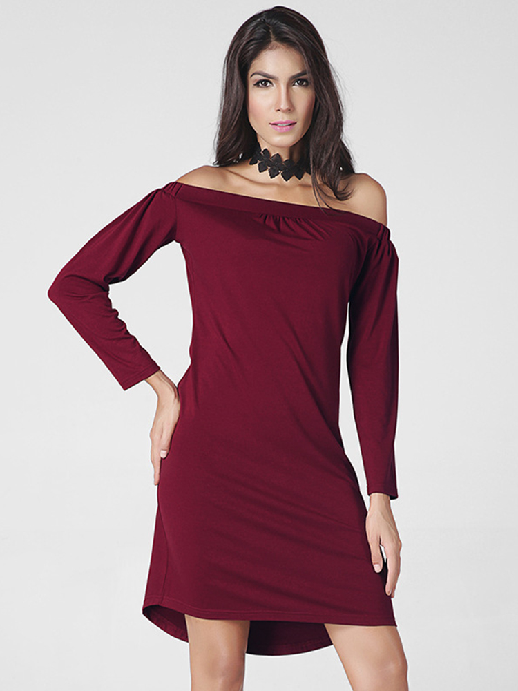 Casual Women Off Shoulder Long Sleeve Pure Color Mini Dress